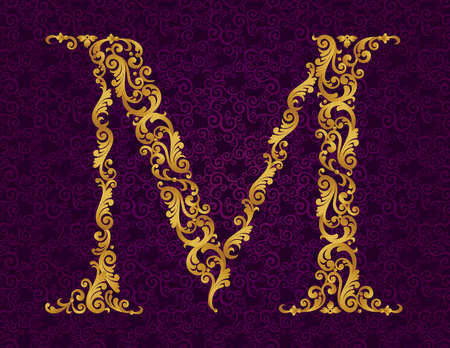 Gold font type letter M, uppercase. Vector baroque element of golden alphabet made from curls and floral motifs. Victorian ABC element in vector. Illustration