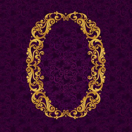 골드 글꼴 문자 O, 대문자. 곱슬 머리와 꽃 모티프에서 만든 황금 알파벳의 바로크 요소를 벡터합니다. 벡터에서 빅토리아 ABC 요소입니다.