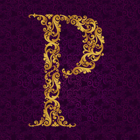 Gold font type letter P, uppercase. Vector baroque element of golden alphabet made from curls and floral motifs. Victorian ABC element in vector.