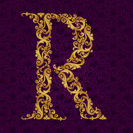 ゴールド フォント タイプ、R の文字大文字にします。ベクトルのカールと花のモチーフから作られた黄金のアルファベットのバロック式要素。ビク