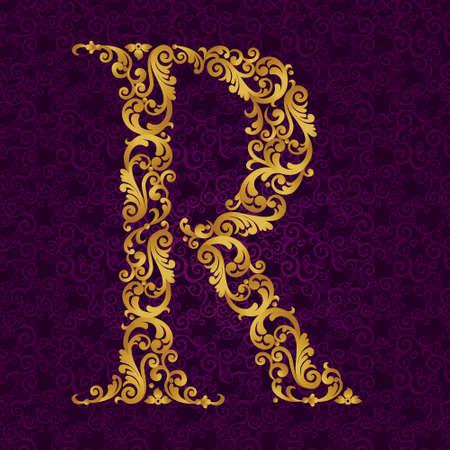 골드 글꼴 유형 문자 R, 대문자. 곱슬 머리와 꽃 모티브로 만든 황금 알파벳의 바로크 요소 벡터. 벡터에서 빅토리아 ABC 요소입니다.