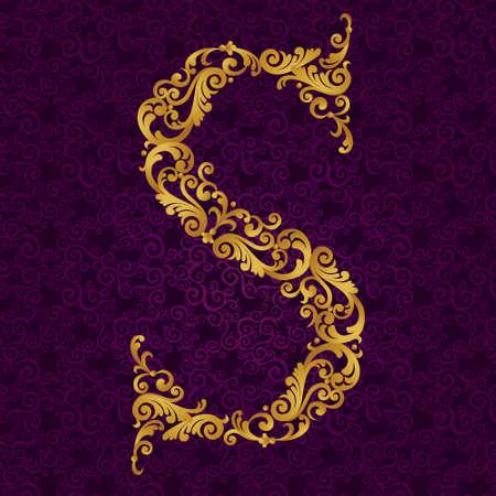 Oro tipo di font lettera S, maiuscolo. Vector elemento barocca di alfabeto oro fatta da riccioli e motivi floreali. Victorian elemento ABC nel vettore. Vettoriali