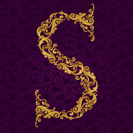 Gold font type letter S, uppercase. Vector baroque element of golden alphabet made from curls and floral motifs. Victorian ABC element in vector.