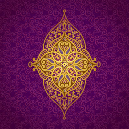 arabic motif: Vector pattern in Eastern style. Ornate element for design and place for text. Ornamental lace pattern for wedding invitations and greeting cards.Traditional golden decor on purple background. Illustration