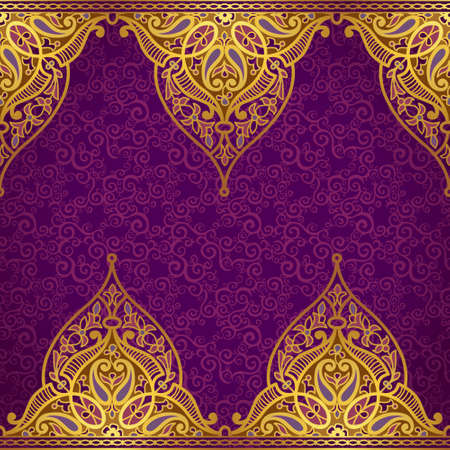Vector seamless border in Eastern style. Ornate element for design and place for text. Ornamental lace pattern for wedding invitations and greeting cards.Traditional golden decor on purple background. Ilustração