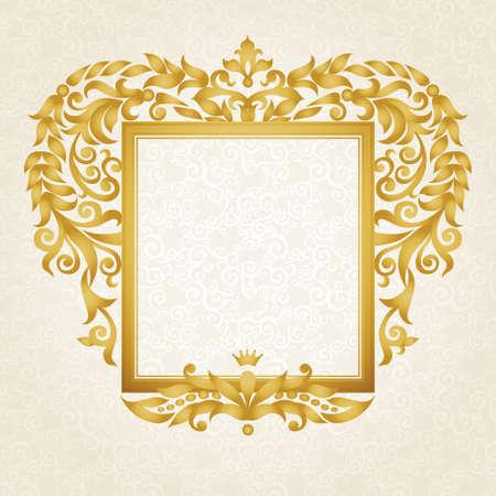 luxo: Vector quadro ornamentado em estilo vitoriano. Elemento decorativo para o projeto e lugar para o texto. Rendado Ornamental para convites de casamento e decora