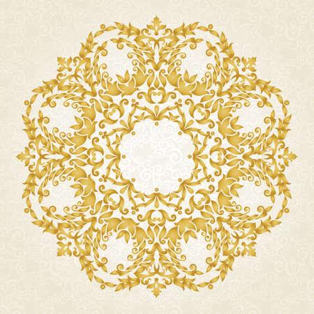 Vector ornament in Victorian style. Ornate baroque element for design, floral decoration. Ornamental lace pattern for wedding invitations, greeting cards. Traditional golden decor on light background.