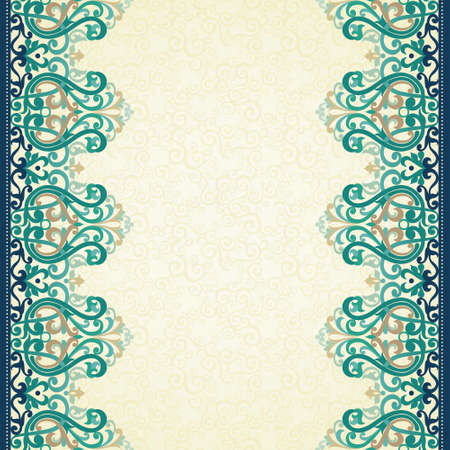 Decorative vector seamless border in Victorian style. Colorful element for design and place for text. Ornamental lace pattern for wedding invitations and greeting cards. Traditional ornate decor on light background.