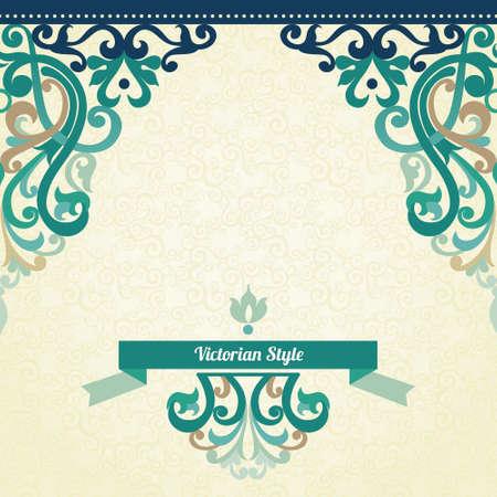 ビクトリア朝様式の装飾的なベクトルのシームレスな境界線。デザインとテキストのための場所のカラフルな要素です。結婚式の招待状やグリーティング カードの装飾用レース パターン。明るい背景上の伝統的な華やかな装飾。