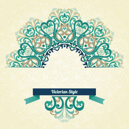 Vector ornate pattern in Victorian style. Decorative element for design and place for text. Ornamental lace pattern for wedding invitations and greeting cards.Traditional colorful decor on light background.