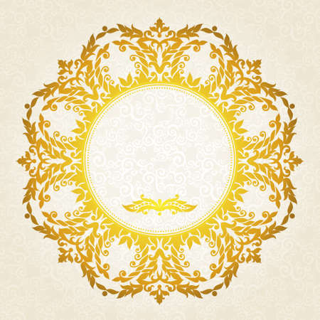 Vector ornate frame in Victorian style. Decorative element for design and place for text. Ornamental lace pattern for wedding invitations and greeting cards.Traditional gold decor on light background. Illustration