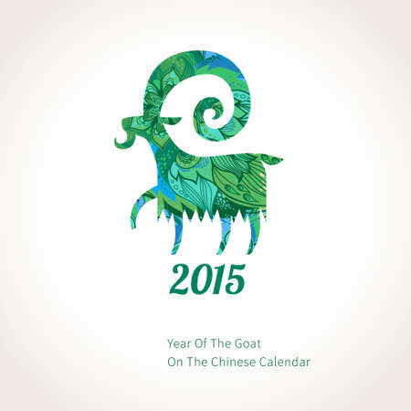 Vector illustration of goat, symbol of 2015 on the Chinese calendar. Silhouette of goat, decorated with green flower patterns. Vector element for New Years design. Image of 2015 year of the goat. Illustration