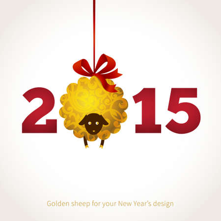 wool sheep: Symbol of 2015 on the Chinese calendar. Sheep, decorated gold floral patterns. Vector element for New Years design. Illustration of 2015 year of the sheep.