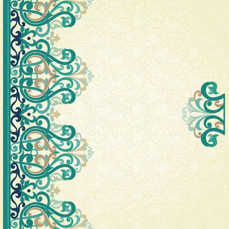luxo: Decorativa vector fronteira sem costura em estilo vitoriano. Elemento colorido para o projeto e lugar para o texto. Rendado Ornamental para convites de casamento e cartões. Decoração ornamentado tradicional no fundo claro. Ilustração