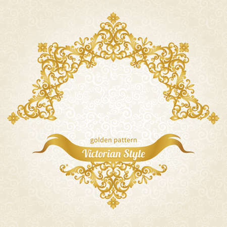 place card: Vector ornate frame in Victorian style. Decorative element for design and place for text. Ornamental lace pattern for wedding invitations and greeting cards.Traditional gold decor on light background. Illustration