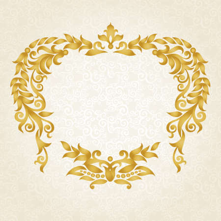 friso: Vector marco ornamentado en estilo victoriano. Elemento decorativo para el diseño y el lugar de texto. Patrón de encaje ornamental para las invitaciones de boda y saludo decoración oro cards.Traditional sobre fondo claro.