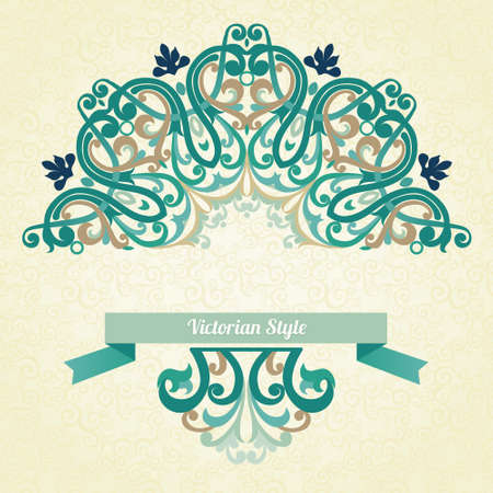 Vector ornate pattern in Victorian style. Decorative element for design and place for text. Ornamental lace pattern for wedding invitations and greeting cards.Traditional colorful decor on light background. Vector