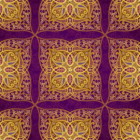 東部のスタイルでのシームレスなパターン ベクトル。デザインの黄金の要素です。紫色の背景に装飾的なレースの網目模様。華やかな花装飾のため