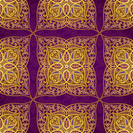 byzantine: Vector seamless pattern in Eastern style. Golden element for design. Ornamental lace tracery on purple background. Ornate floral decor for wallpaper. Endless texture. Bright pattern fill. Illustration