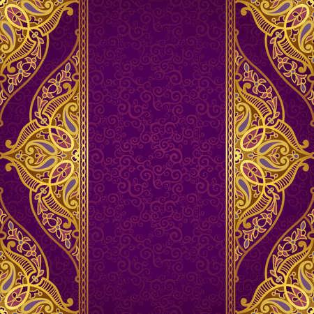 Vector naadloze grens in Oost-stijl. Sierlijke element voor ontwerp en plaats voor tekst. Sier kant patroon voor bruiloft uitnodigingen en groet cards.Traditional gouden decor op paarse achtergrond. Stock Illustratie