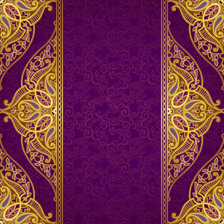 Vector seamless border in Eastern style. Ornate element for design and place for text. Ornamental lace pattern for wedding invitations and greeting cards.Traditional golden decor on purple background. Çizim