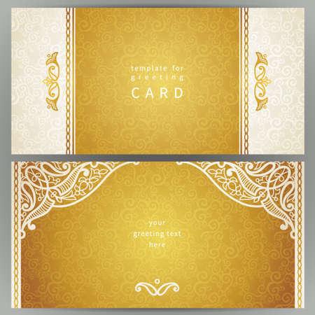 background elegant: Vintage tarjetas adornadas en estilo oriental. Decoraci�n floral oriental de oro. Marco de plantilla de tarjeta de felicitaci�n y la invitaci�n de la boda. Vector de la frontera adornado y lugar para el texto. Vectores