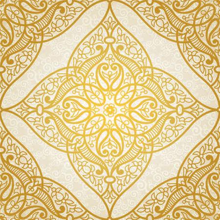 東部のスタイルでのシームレスなパターン ベクトル。デザインの黄金の要素です。明るい背景の装飾的なレース網目模様。華やかな花装飾のための  イラスト・ベクター素材
