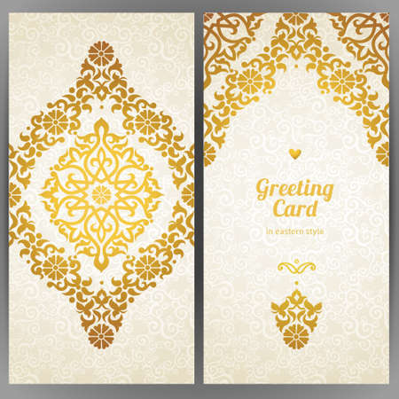 embroidery designs: Vintage ornate cards in oriental style. Golden Eastern floral decor. Template frame for greeting card and wedding invitation. Ornate vector border and place for your text.