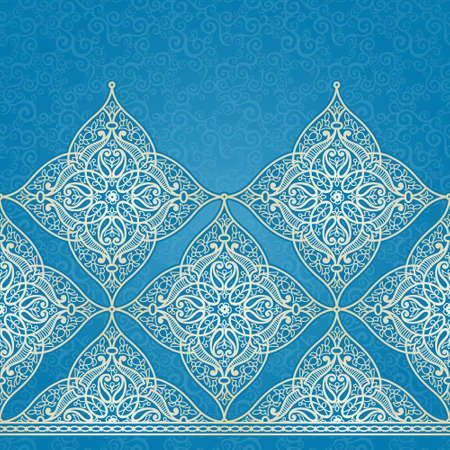 motif pattern: Vector seamless border in Eastern style. Ornate element for design and place for text. Ornamental lace pattern for wedding invitations and greeting cards.Traditional light decor on blue background. Illustration