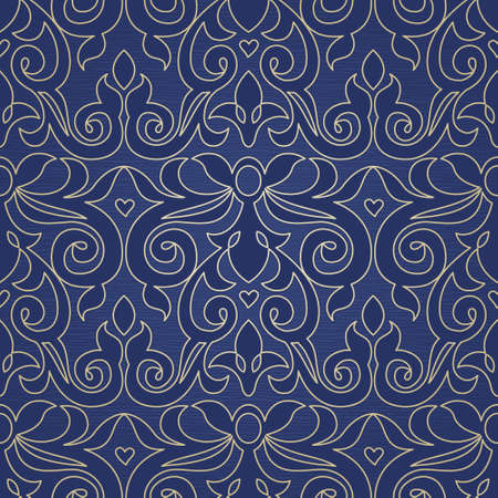 scroll tracery: Vector seamless pattern in Victorian style. Element for design. Ornamental backdrop. Lace tracery background. Ornate floral decor for wallpaper. Endless texture. Brocade pattern fill. Illustration