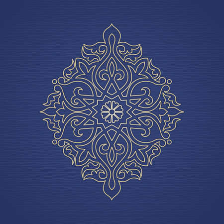 Vector pattern in Eastern style. Ornate element for design and place for text. Ornamental lace pattern for wedding invitations and greeting cards. Traditional golden decor on blue background.