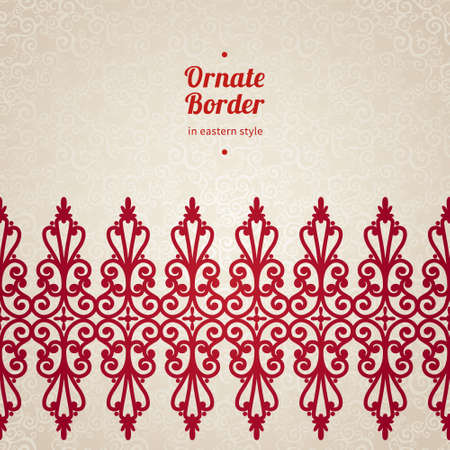 byzantine: Vector seamless border in Eastern style. Ornate element for design and place for text. Ornamental lace pattern for wedding invitations and greeting cards. Traditional red decor on light background. Illustration