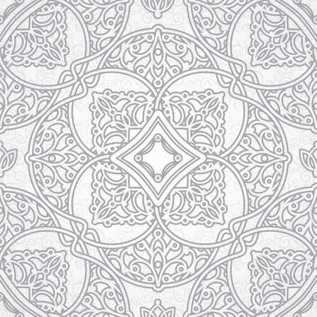 東部のスタイルでのシームレスなパターン ベクトル。設計のための灰色の要素。明るい背景の装飾的なレース網目模様。華やかな花装飾のための壁