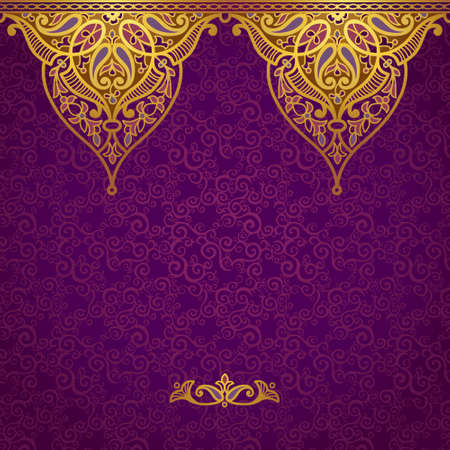 Vector seamless border in Eastern style. Ornate element for design and place for text. Ornamental lace pattern for wedding invitations and greeting cards.Traditional golden decor on purple background. Vettoriali