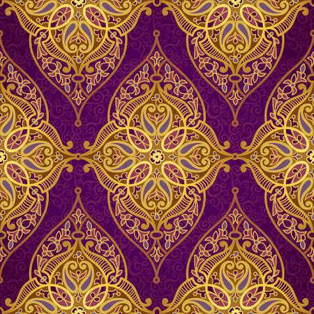 classic style: Vector seamless pattern in Eastern style. Golden element for design. Ornamental lace tracery on purple background. Ornate floral decor for wallpaper. Endless texture. Bright pattern fill. Illustration