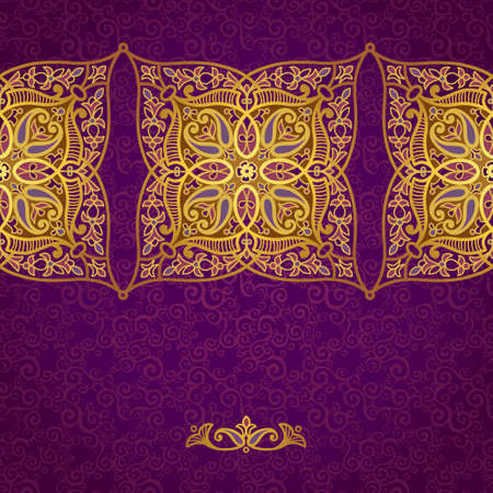 eastern religion: Vector seamless border in Eastern style. Ornate element for design and place for text. Ornamental lace pattern for wedding invitations and greeting cards.Traditional golden decor on purple background. Illustration