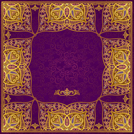byzantine: Vector frame in Eastern style. Ornate element for design and place for text. Ornamental lace pattern for wedding invitations and greeting cards.Traditional golden decor on purple background. Illustration