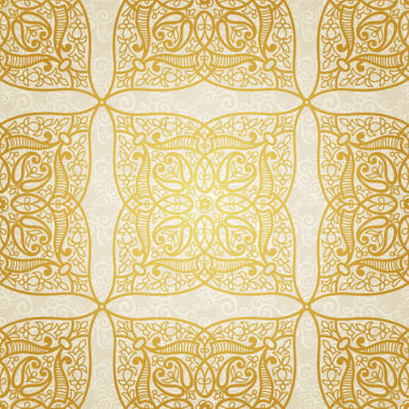 byzantine: Vector seamless pattern in Eastern style. Golden element for design. Ornamental lace tracery on light background. Ornate floral decor for wallpaper. Endless texture. Bright pattern fill.