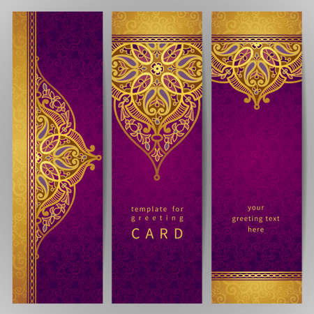 arabic: Vintage ornate cards in oriental style. Golden Eastern floral decor. Template frame for greeting card and wedding invitation. Ornate vector border and place for your text.