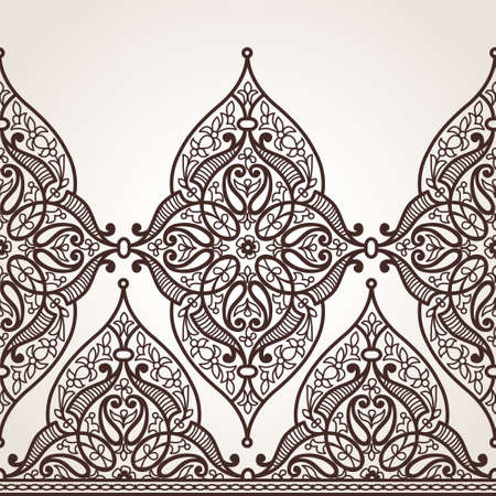 decoration    design: Vector seamless border in Eastern style. Ornate element for design and place for text. Ornamental contrast pattern for wedding invitations and greeting cards. Traditional monochrome decor.
