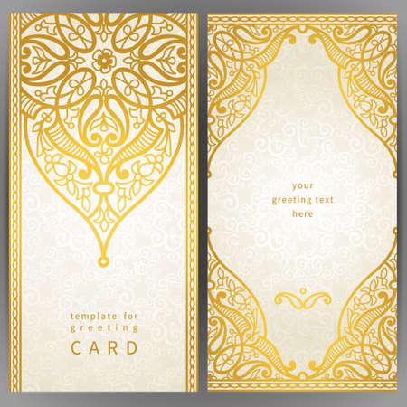 encajes: Vintage tarjetas adornadas en estilo oriental. Decoraci�n floral oriental de oro. Marco del modelo para la tarjeta de felicitaci�n y la invitaci�n de la boda. Frontera vector adornado y lugar para el texto.
