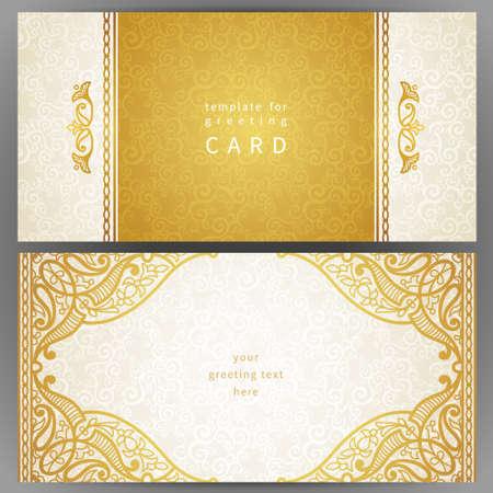 オリエンタル スタイルのヴィンテージの華やかなカード。黄金の東花装飾です。グリーティング カード、結婚式招待状のテンプレート フレーム。華やかなベクトル境界線とテキストの場所です。
