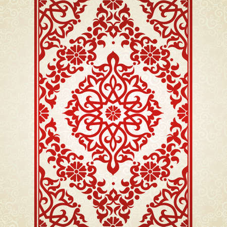 Vector seamless border in Eastern style. Ornate element for design and place for text. Ornamental lace pattern for wedding invitations and greeting cards. Traditional red decor on light background. Illustration