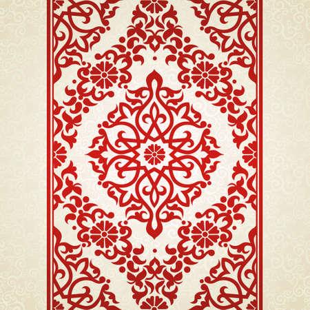 Vecteur frontière perméable au style oriental. Ornement élément pour la conception et le lieu de texte. Motif de dentelle d'ornement pour les invitations de mariage et cartes de souhaits. Décor rouge traditionnel sur fond clair.