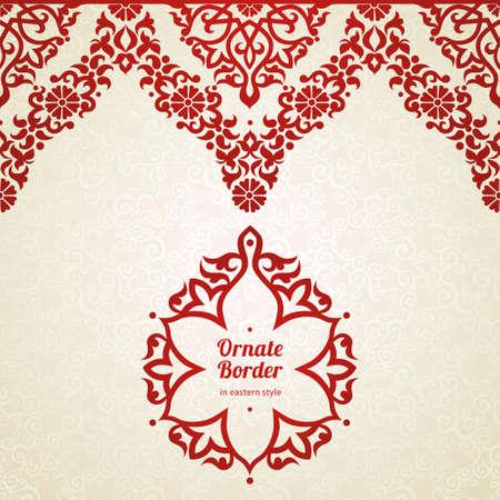 Vector nahtlose Grenze in Ost-Stil. Ornate Element für Design und Platz für Text. Zierlochmuster für Hochzeitseinladungen und Grußkarten. Traditionelle rote Dekoration auf hellem Hintergrund. Standard-Bild - 33378407