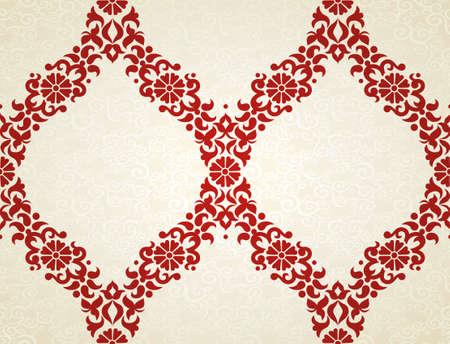 東部のスタイルでのシームレスなパターン ベクトル。デザインの赤の要素です。明るい背景の装飾的なレース網目模様。華やかな花装飾のための壁