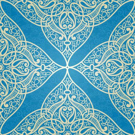 東部のスタイルでのシームレスなパターン ベクトル。透かし彫りデザインの要素。青い背景の装飾的なレース網目模様。華やかな花装飾のための壁
