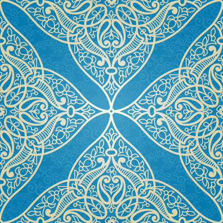 arabic motif: Vector seamless pattern in Eastern style. Openwork element for design. Ornamental lace tracery on blue background. Ornate floral decor for wallpaper. Endless texture. Bright pattern fill.
