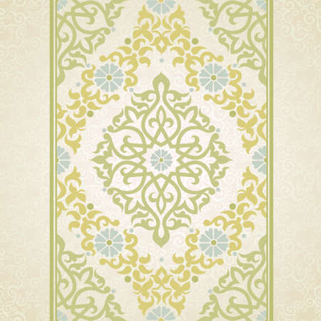 eastern religion: Vector seamless border in Eastern style. Ornate element for design and place for text. Ornamental lace pattern for wedding invitations and greeting cards. Traditional decor on light background.