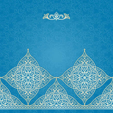 traditional: Vector seamless border in Eastern style. Ornate element for design and place for text. Ornamental lace pattern for wedding invitations and greeting cards.Traditional light decor on blue background. Illustration
